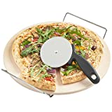 Pizza Stone for Oven 15 x 3/5'' BBQ Baking Stone Round Grilling Ceramic Pan with Cutter Handle Set, 15X3/5''