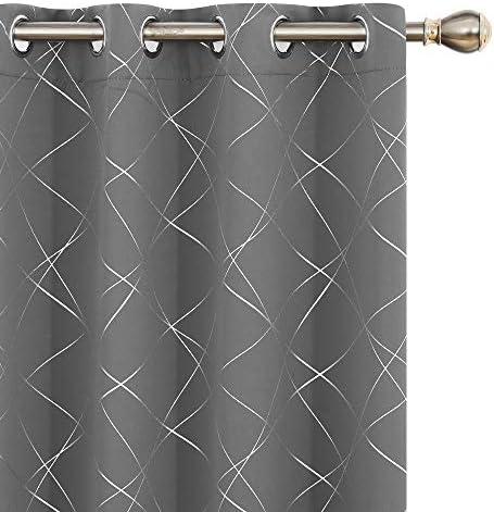 UMI. by Amazon Tende Oscuranti Tessuto Argentate Isolamento Termico con Occhielli per Cucina 140x290cm Grigio Chiaro 2 Pezzi