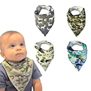 Baby Bandana Drool Bibs Set of 4 for Boys, Super Soft, Absorbent, Adjustable Snaps, Made of Organic Cotton And Fleece Burpy Bib For Boy Vipbibs