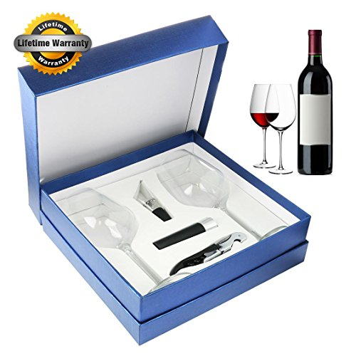 Zalik Wine Glasses Gift Set – Set Of 2 Wine Glasses, Wine Opener, Wine Stopper And Wine Aerator Pourer For Enhanced Flavor – Perfect Gift For Every Occasion - Wine Accessories - Elegant Gift Box (Accessories Box Wine)