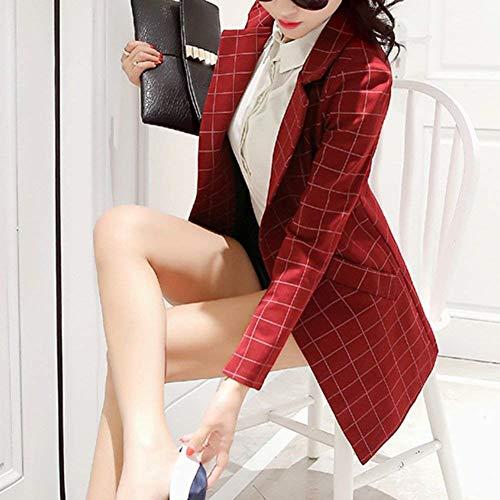 Primaverile Autunno Plus Blazer Giubbino Elegante Slim Women Maniche Giovane Outerwear Quadretti Da Fit Business Giacca Tailleur Bavero Classiche Ufficio Lunghe Prodotto Donna Rot Moda nwEUqXFF