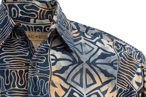 Johari West Floating Leaves Tropical Cotton Batik Shirt By