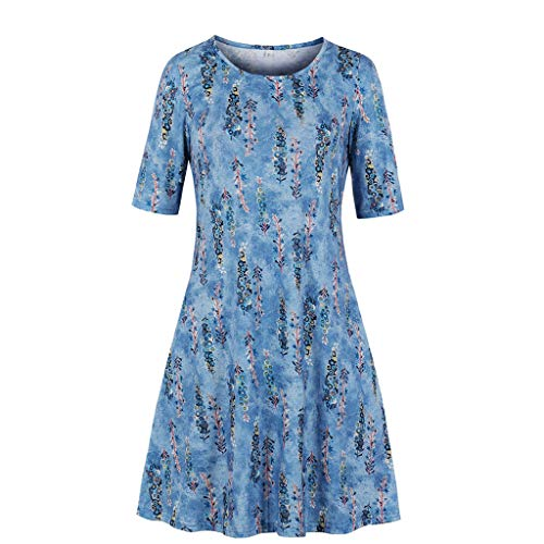 Sunmoot Clearance Sale Womens Floral Skater Dress,Ladies Pleated Smock O-Neck Short Sleeve Casual Swing Loose Dresses
