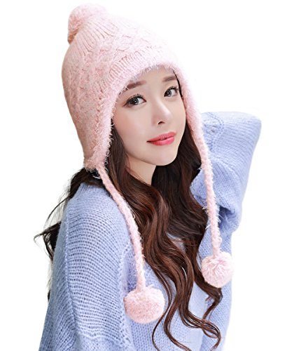Womens Knit Pink Peruvian Wool Hat Winter Pom Beanie with Earflap Cap Hunting ()