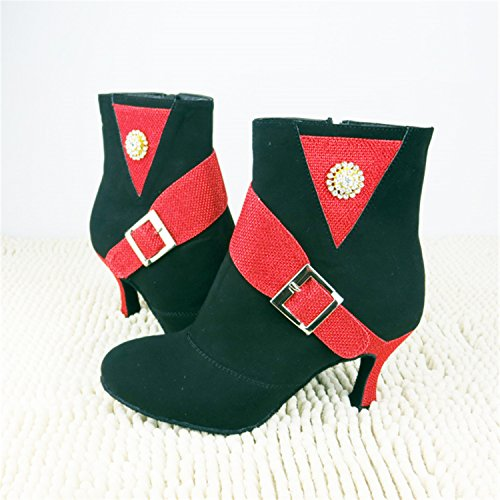 dance Dance latin Women tango 7 black Gift Shoes YFF 35 red shoes 5CM dancing Ballroom g1aq4EY