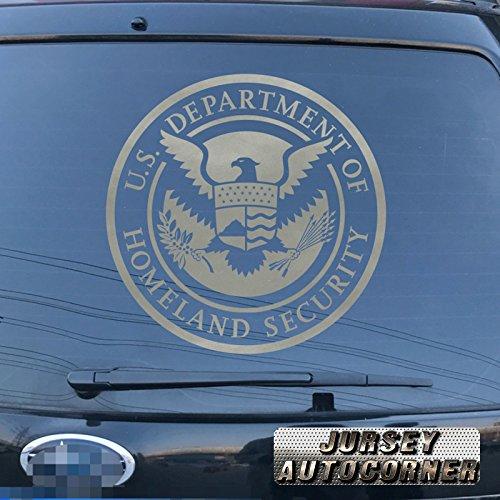 Homeland Security Seal - Jursey Auto U.S. Department of Homeland Security Seal (DHS) Decal Sticker Car Vinyl pick size color die cut no background (silver, 16'' (40.6cm))