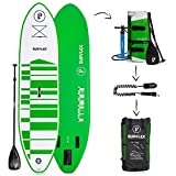 "Supflex Paddle Boards All-Around 10"" Inflatable SUP Package (6"" Thick) - Board, Pump, Paddle, Bag & Leash (Green)"