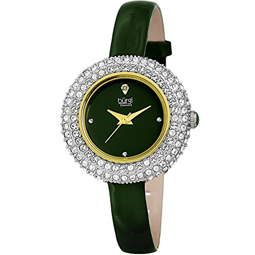 Burgi Women's BUR195 Swarovski Crystal & Diamond Accented Watch - Comfortable Leather Strap in A Gift Box (Yellow Gold & Green)