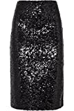 flowerry Women Silver Sequin Skirt Knee Length Sequin Skirt Party Sequin Skirt (Large, Black)