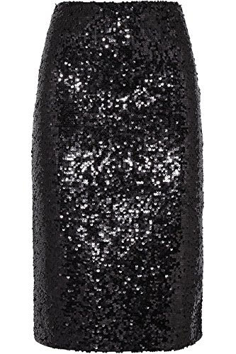 flowerry Women Silver Sequin Skirt Knee Length Sequin Skirt Party Sequin Skirt (Large, Black) by flowerry