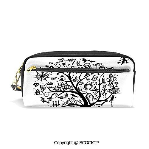Students PU Pencil Case Pouch Women Purse Wallet Bag Sketchy Spooky Tree with Spooky Decor Objects and Wicked Witch Broom Waterproof Large Capacity Hand Mini Cosmetic Makeup Bag ()