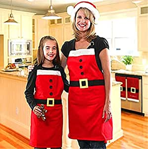 ST park Simple and Traditional Christmas Apron,Red,2pcs.