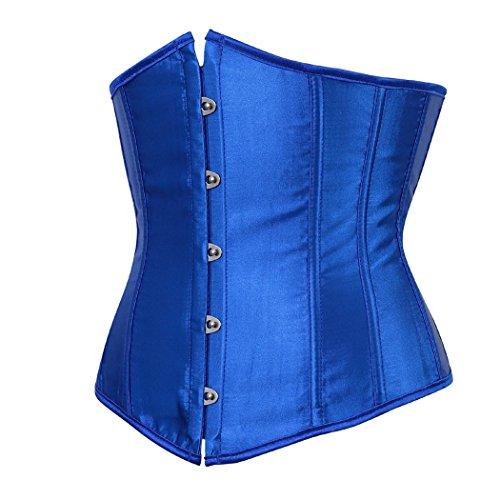 Rosfajiama Mujer Satinado Underbust Corsé Cintura Cincher Lace Up Boned Bodyshaper Lencería azul color
