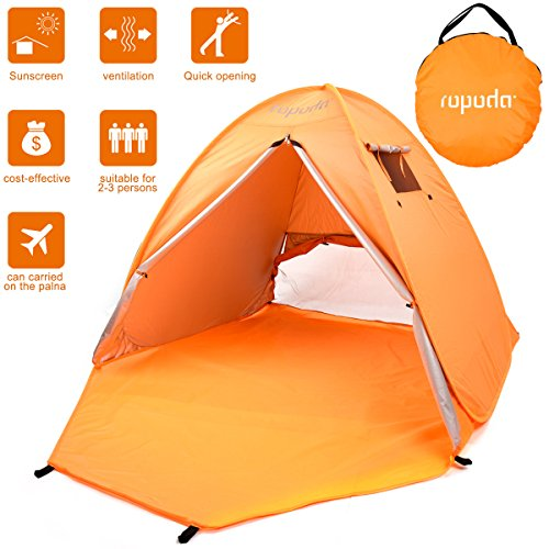 (ROPODA Beach Tent, Portable Pop up Sun Shelter-Automatic Instant Family UV 2-3 Person Canopy Tent for Camping,Fishing,Hiking,Picnicing-Outdoor Ultralight Canopy Cabana Tents with Carry Bag(Orange))