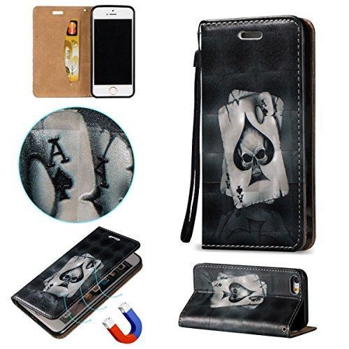 Voguecase® Pour Apple iPhone 5 5G 5S Coque, Magnetische Étui en cuir synthétique chic avec fonction support pratique pour Apple iPhone 5 5G 5S (poker)de Gratuit stylet l'écran aléatoire universelle