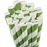 Aardvark Paper Straws Unwrapped Jumbo Straw, 7.75-Inch, Kelly Green and White Striped, 50-Pack