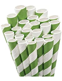 Buy Aardvark Paper Straws Unwrapped Jumbo Straw, 7.75-Inch, Kelly Green and White Striped, 50-Pack occupation