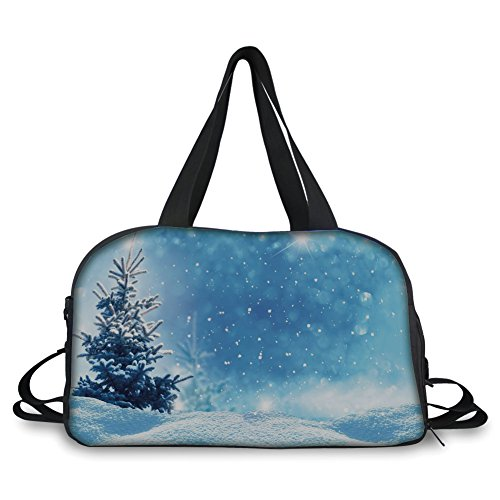 iPrint Travel handbag,Winter,Artistic Rendition of Snowy Season of Year Frozen Pine Tree Snowflakes Falling Down Decorative, ,Personalized by iPrint