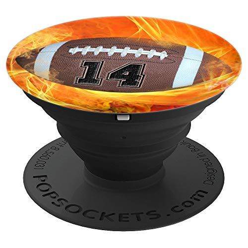 """American Football Number """"14"""" Lucky Number Flame - Football - PopSockets Grip and Stand for Phones and Tablets -  American Football Number 14 Phone Pop Art Gift, 260027"""