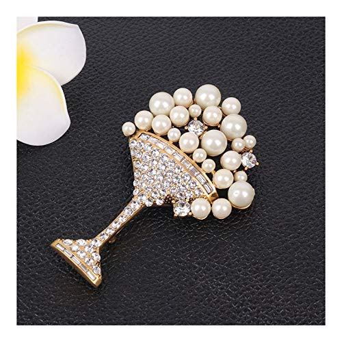 DELIANNA STYLES Brooches Made of Swarovski Jewelry, Pearl & Crystal Broaches for Women, Goblet Pin for Christmas Daily Party Gifts