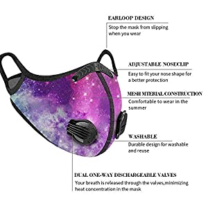 4 Pack Unisex Adjustable Reusable Washable Dust Protect Mouth Cover with 8 Breathing Valves and 8 Carbon Filters for Bicycle Riding Running Cycling Outdoor Sport Fashionable Printed (Color: 4+8+8 Pcs)