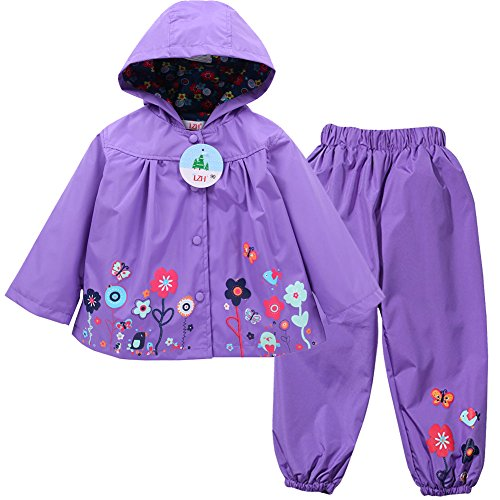 LZH Girl Baby Kid Waterproof Hooded Coat Jacket Outwear Suit Raincoat Hoodies with Pants Rurple 3T(For Age 2-3Y) Hooded Girls Raincoat