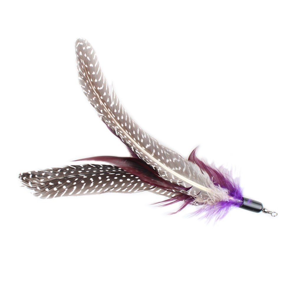 6 Pack EmoursTM Fun Interactive Cat Feather Toys Feather Refill for Cats Kitten Toy Wands