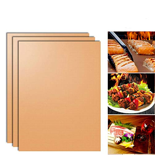 SKYBD Copper Grill Mat (Set of 5) Non-Stick BBQ Grill&Baking Mat for Gas, Charcoal, Electric Grill Sheet - FDA Approved, Reusable, Easy to Clean - 15.75 x 13 Inch (Gold)