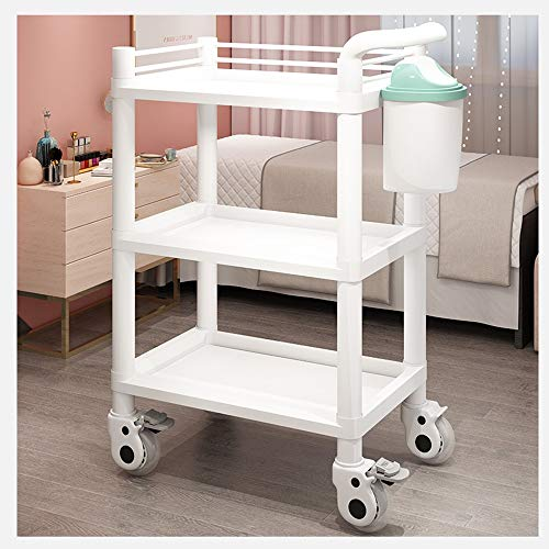 GLJ Floating Shelves LJJL Trolley Storage Shel, 3-Layer with Drawer Moving Pulley Beauty Car Beauty Salon Special Hand Push Tool Cart Instrument Treatment Car Medical (Color : B)