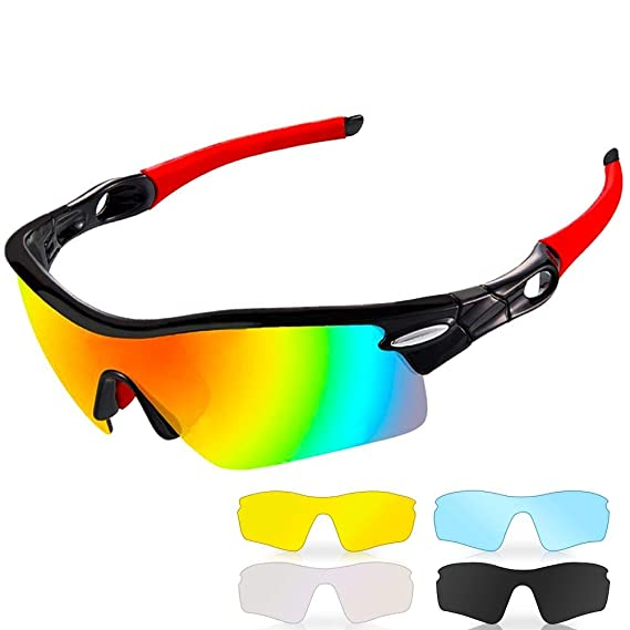 1d9251a579de Polarized Sports Sunglasses,CrazyFire UV 400 Protection Unbreakable Sports  Glasses with 5 Set of Interchangeable Lens, Sport Eye Protective Glasses  for ...