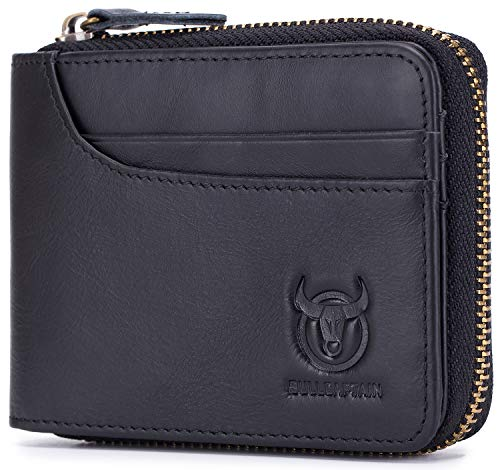 Mens Genuine Leather Wallet RFID Blocking Secure Zipper Bifold Card Holder Purse (Black)
