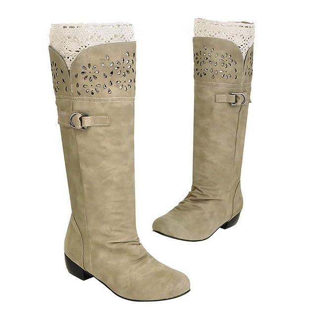 OSYARD Bottes Hautes Hiver Solide Femme Chaussures Cuissardes Fermeture  Eclair Boucle Longue Grande Taille Boots  Amazon.fr  Chaussures et Sacs 062b750c6c4f