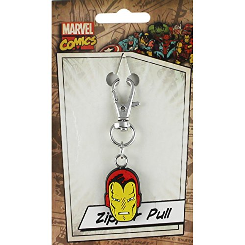 Head Zipper Pull - Licenses Products Marvel Comics Retro Iron Man Head Rubber Zipper Pull Figure
