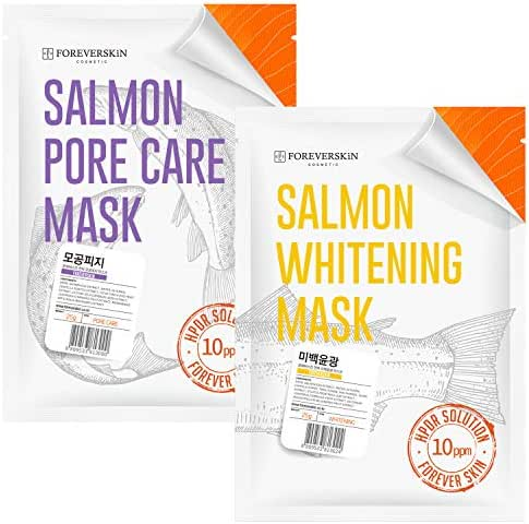 Face Mask with Salmon DNA - 2 SETS HPDR 1% Facial Packs Professional Dermatology Care (Whitening+Porecare)