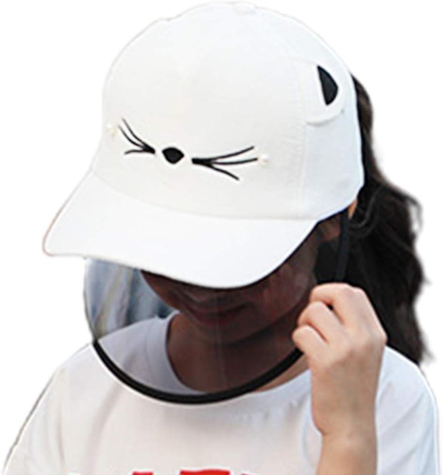 XuHang - Gorra de béisbol con orejas de gato para mujer y niños, con diseño de orejas de gato, desmontable, transparente, antiescupido, para senderismo, al aire libre