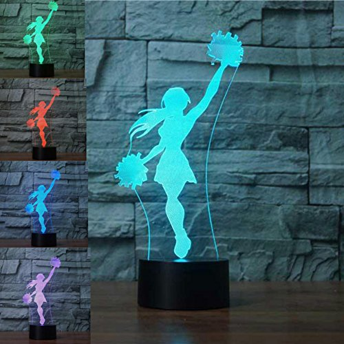 3D Cheerleader Girl Night Light Table Desk Optical Illusion Lamps 7 Color Changing Lights LED Table Lamp Xmas Home Love Brithday Children Kids Decor Toy Gift