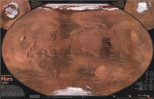 (Mars, The Red Planet, Poster Map (Two Sided) Map Type: Laminated (20