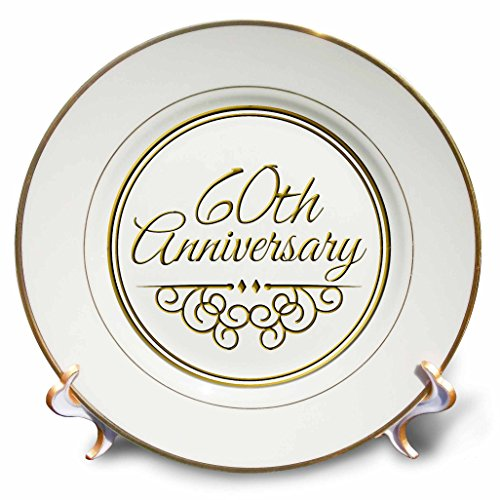 Anniversary Decorative Plate - 3dRose cp_154502_1 60th Gold Text for Celebrating Wedding Anniversaries 60 Years Married Together Porcelain Plate, 8-Inch