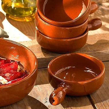 Handled Terra Cotta Cazuelas - 4.5 Inches (4 Dishes) by La Tienda