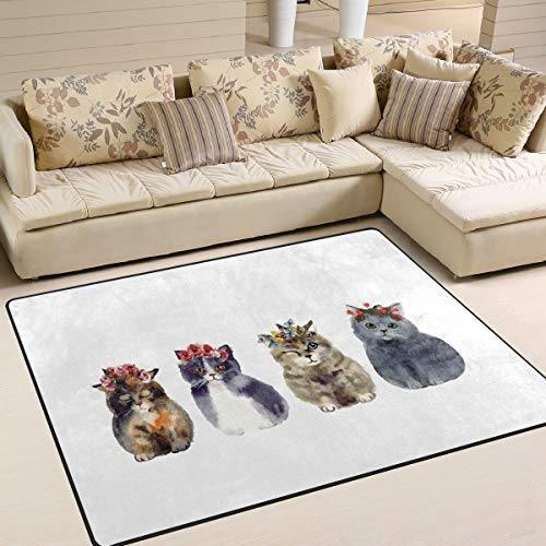 GreaBen Area Rugs for Home Bedroom Livingroom Dining Room Watercolor Cute Cat with Wreath Floor Carpet Non-Slip Rugs for Kids Room 5'3 x 4'