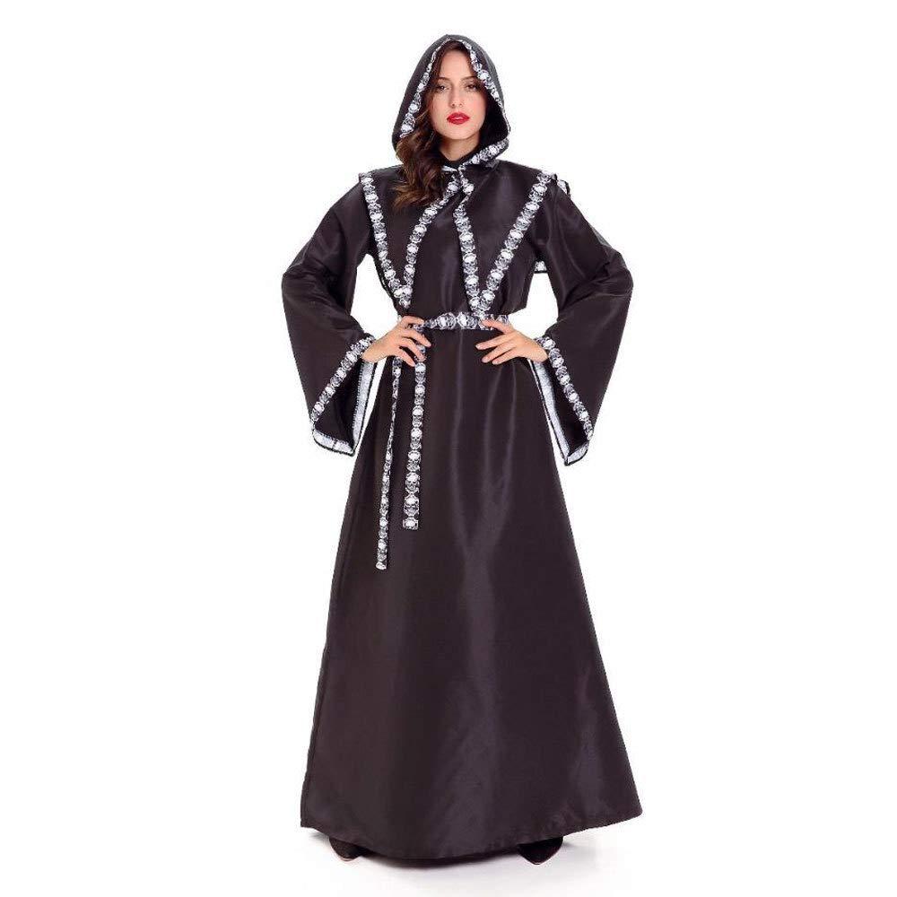 Ambiguity Halloween kostüm Damen Halloween Horror Schwarze Hexe Kostüm Erwachsene cos Hexe Kostüm Masquerade Schädel schwarzen Gewand Hexenkostüm