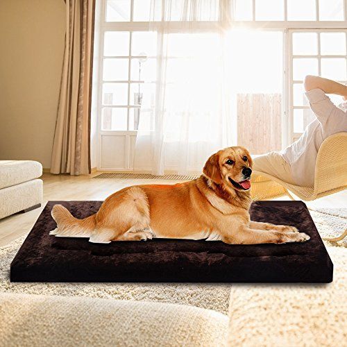 27' Brown Fleece (Memory Large Fleece Foam Pet Bed Dog Cat Puppy Pad Mat Cushion Removable Cover)