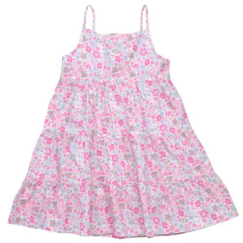 Under the Nile Girl's Organic Pink Floral Tiered Dress