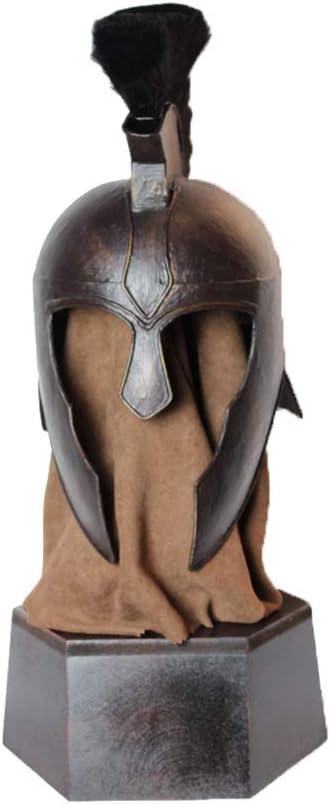 Nvshiyk Disfraz Medieval Guerrero Armadura Metal Medieval Caballero Casco Negro Troy Personalidad Escritorio Accesorios Accesorio para Sombreros de Disfraces (Color : Black, Size : 36x33x61cm)