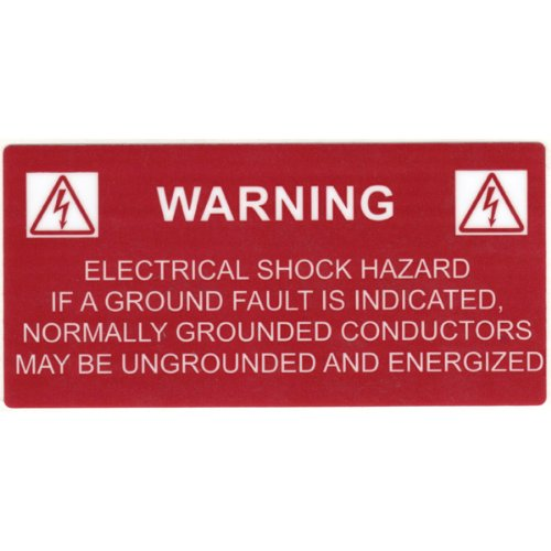Hellermann Tyton 596-00234 Pre-Printed Solar Label, 4.12'' X .02'', WARNING GROUNDED CONDUCTORS, Red (Pack of 50)