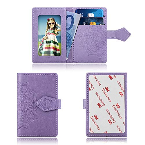 Cmeka Cell Phone Wallet,Credit Card Holder for Back of Phone Pocket 3M Adhesive Sticker Card Pouch Sleeve for iPhone/Samsung Galaxy/Sony/Android and Most Smartphones (Purple-Mandala)