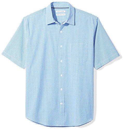 (Amazon Essentials Men's Regular-Fit Short-Sleeve Casual Poplin Shirt, blue gingham, Medium)
