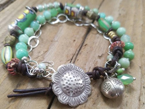 African Trade Bead Bracelet with Hill Tribe Silver - Chrysoprase and Sterling Silver Bracelet