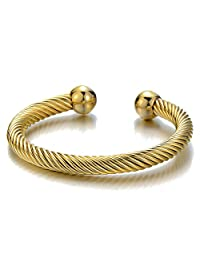 Elastic Adjustable Stainless Steel Twisted Cable Cuff Bangle Bracelet for Men Women Gold Color