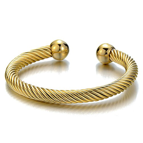 (COOLSTEELANDBEYOND Elastic Adjustable Stainless Steel Twisted Cable Cuff Bangle Bracelet for Men Women Gold Color)